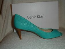 NWT Calvin Klein Women's Kasia Matte Snake Laggon Breeze Blue Shoes SIze 9.5 M