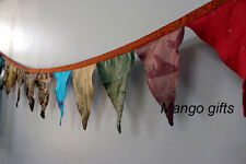 Handmade Multicolor Indian Old Recycled Silk Sari Bunting 12 Flags Party Decor