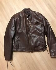 Walter Dyer Custom Made Cafe Racer Leather Motorcycle Jacket Side Laces Size 40