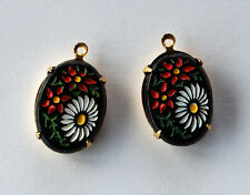 VINTAGE ETCHED GLASS FLORAL PAINTED OVAL BEAD PENDANT RARE 18x13mm BLACK ENAMEL