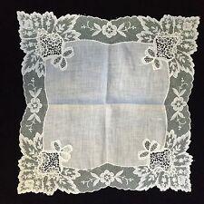 Vintage Duchess Lace White Wedding Hankie Handkerchief, Bride, Bridal (RF226)