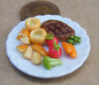 1:12 Large Roast Beef & Yorkshire On A 3.5cm Ceramic Plate Dolls House Miniature