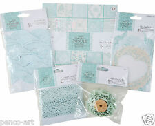 "Docrafts eau de nil scrapbook kit. 8x8"" & lace paper, ric rac, notelets, fabric"
