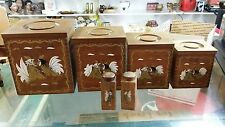 VINTAGE WOODEN NESTING ROOSTER CANNISTER SET W/S&P SHAKERS 10 PCS COUNTRY KITCH