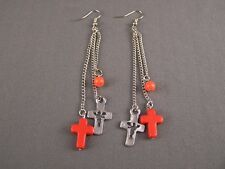 """Orange Silver tone Cross triple multi chain dangle 4"""" long earrings lightweight"""