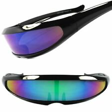 Space Age Futuristic Wrap Around Cool Green & Blue Mirror Lens Visor Sun Glasses