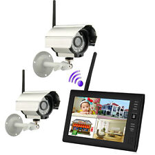"New 7"" TFT LCD 2.4G 4CH Wireless Home DVR Security System Monitor /w IR Cameras"