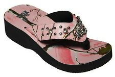 NEW WOMENS REALTREE GIRL RACHAEL 7-7.5 PINK CAMO BLING FLIP-FLOPS SHOES SANDALS