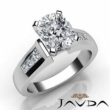 Cushion Cut Channel Set Diamond Engagement Ring GIA I SI1 14k White Gold 1.6 ct