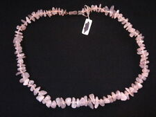 COLLIER DE PERLES BRUT EN QUARTZ ROSE VINTAGE 70 NEUF 40 CM/NECKLACE NEW VINTAGE