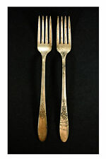"""Vintage Silver Plate Two 7 1/2"""" Forks Made By Tudor Plate Oneida Community."""
