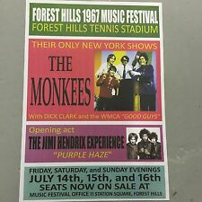THE MONKEES + JIMI HENDRIX - CONCERT POSTER FOREST HILLS FESTIVAL 1967 (A3 SIZE)