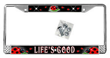 Ladybugs Black License Plate Frame Personalized Gifts Polished Metal Add Text