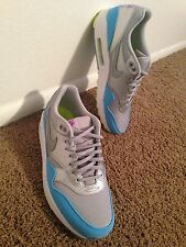 DS NIKE AIR MAX 1 FB METALLIC SILVER CURRENT BLUE LIME Sz 12  AIRMAX ROSHE RUN