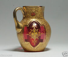 Stunning Moser Enameled Cranberry Glass Pitcher c.1885