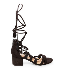 NEW MADDEN GIRL LOVERRR BLACK STRAPPY SANDALS WOMENS 8 ANKLE LACE UP STRAPPY