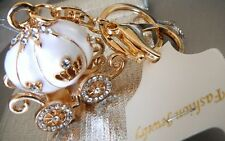 CINDERELLA COACH CARRIAG PUMPKIN CRYSTAL PURSE WHITE KEY FOB CHAIN RING GIF BAG