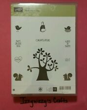 Stampin Up NUTS ABOUT YOU wood tree squirrel bird love rubber stamps EUC (15-7)