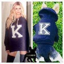 Initial Hoody personalised dog top hoody small pet clothing sweater Kardashian