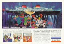 1961 French Line Cruise Ship SS France Maiden Voyage ART PRINT AD