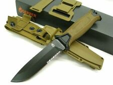 GERBER Coyote Brown STRONGARM Serrated Fixed Blade Knife + Sheath! 30-001059