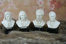 Musicians set Alabaster Resin Busts on marble base bach  Wagner, Liszt,Straus