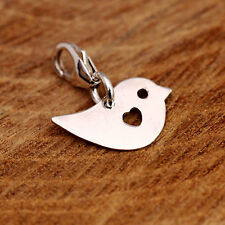 925 Sterling Silver Happy Bird with Love Heart Clip On Pendant Bracelet Charm