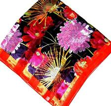 SCARF Large Square Orange Fuchsia Yellow Burgundy Lime Floral BRILLIANT FLOWERS