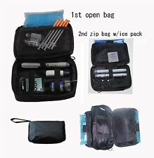 Double bag diabetic cooler organizer bag - with 2 x ice pack-Black