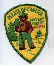 WORLD FOREST FIREFIGHTER PATCH: National Park Fire Dept Smokey Bear Be Careful