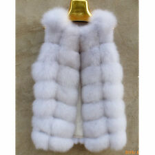 Genuine Real Natural Fox Fur Vest Women Fashion Gilet Ladies Long Jacket Coats