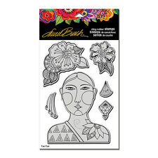 LAUREL BURCH RUBBER STAMPS CLING BLOSSOMING WOMAN NEW cling STAMP + STENCIL