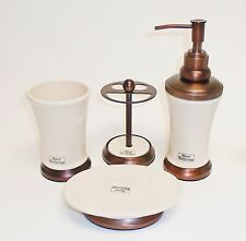 NEW HOTEL COLL. 4 PC SET CREAM,BEIGE+BRONZE BROWN SOAP DISPENSER,TOOTH,TUMBLER+1