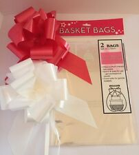 Cellophane Hamper Basket Bags 2 Per Pack Plus 2 FREE Pull Bows, Red & White
