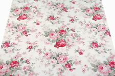 """FQ Vintage Style Pink & Red Rose Large Bouquet (7"""") on Beige Cream Cotton Fabric"""