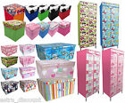 Childrens Bedroom Printed Storage WARDROBE Chest BOXTrunk Toy Clothes Organiser