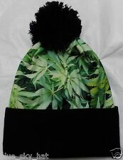 MARIJUANA KUSH POT HEMP LEAF WEED WINTER WARM SKI KNIT BEANIE POM WATCH CAP HAT