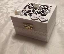 Personalized names wooden vintagwhite wedding Jewellery ring box velvet cushion