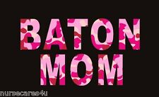 BATON MOM BLACK T SHIRT PINK CAMOUFLAGE LETTERS BATON TWIRLING MOMS ALL SIZES