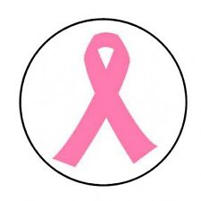 """48 pink breast cancer ribbon ENVELOPE SEALS LABELS STICKERS 1.2"""" ROUND"""