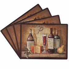 Set 4 kitchen Table Dining Party  Room Spill Mat Wine Cork Placemat Cheese Fruit