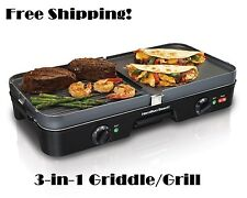 Indoor Electric Grill BBQ Griddle Smokeless Countertop Nonstick Two Plate Stove