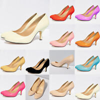 WOMEN'S LADIES LOW MID HEELS PUMPS CONCEALED PLATFORM WORK COURT SHOES UK 2 - 9