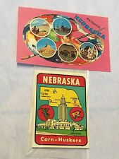 Nebraska Corn-Huskers Vintage Travel Sticker Suitcase decal + Poscard.