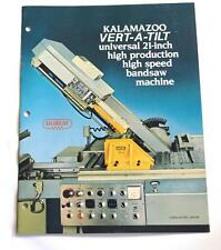 KALAMAZOO UNV-84 HIGH SPEED BANDSAW MACHINE BROCHURE