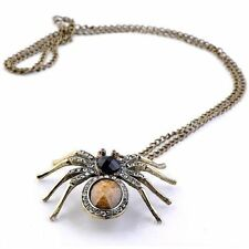Vintage Retro Style Chic Rhinestone Spider Amber Pendant Necklace Sweater Chain