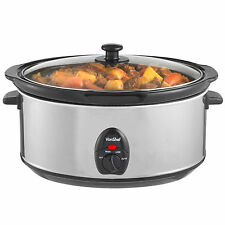 VonShef 6.5L Slow Cooker Stainless Steel Oval Pot + Toughened Glass Lid