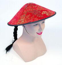 Costume CINESE monorotaie Cappello rosse in tessuto Oriental Cono Cappello TRECCIA