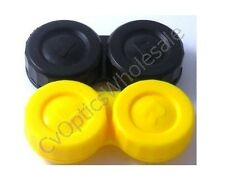 2x Contact Lens Storage Soaking Case Black/Yellow