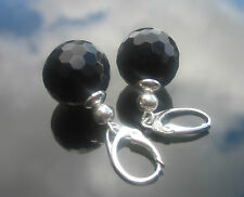 12 mm Handmade Round Onyx Black Faceted Beads Silver Beads 925 SILVER EARRINGS
